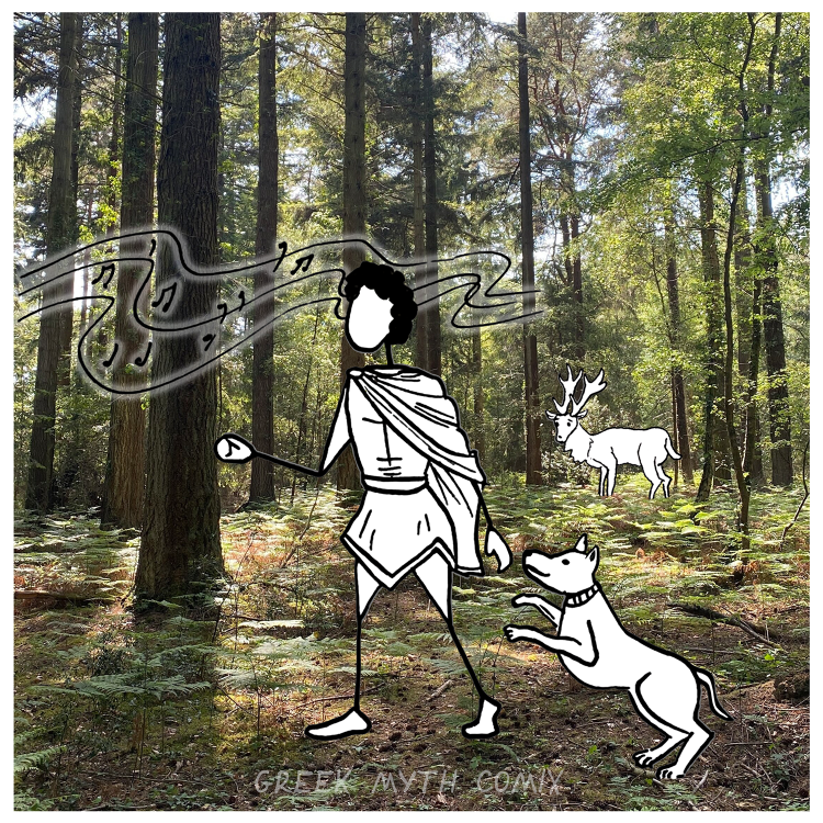 Actaeon in a Landscape - black and white drawing against a photographic background