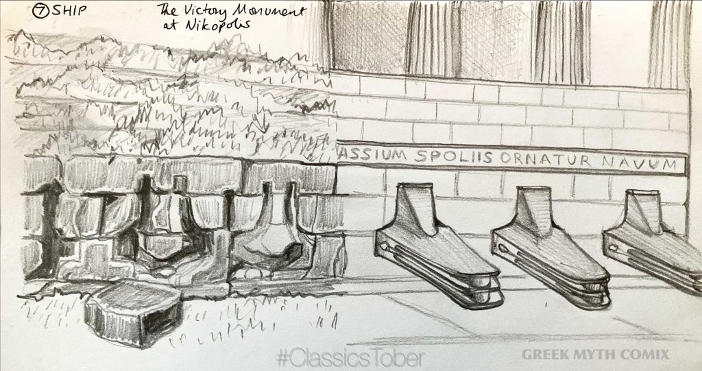 Pencil sketch of the ship monument at Nikopolis, now and then (when it had the rams from the fronts of ships attached)
